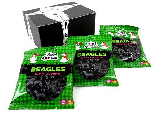 Gustaf's Gluten Free Black Licorice Beagles, 5.29 oz Bags in a BlackTie Box (Pack of 3)