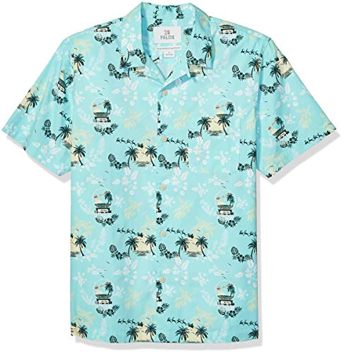 Amazon Brand - 28 Palms Men's Standard-Fit 100% Cotton Holiday Christmas Hawaiian Shirt, Light Blue Snow Globe, X-Small