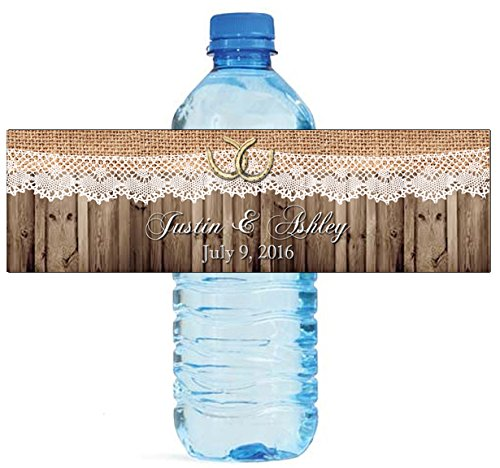 "100 Burlap Lace Horse shoe Wood Country Wedding Water Bottle Labels Great for Engagement Bridal Shower Party 8""x2"""