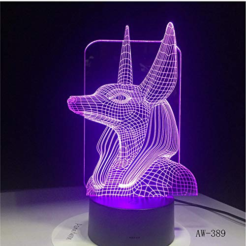 MRQXDP 7 kleuren veranderende Egypte 3D Bulbing lamp illusie kleuren veranderen bureau licht met Black Touch Base Decor Night Light Abajur