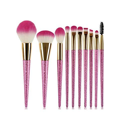 JFFFFWI 10 pièces Pinceau de Maquillage avec dégradés colorés poignée en Plastique Conique, Poils synthétiques Roses (Couleur: Rose Rouge)