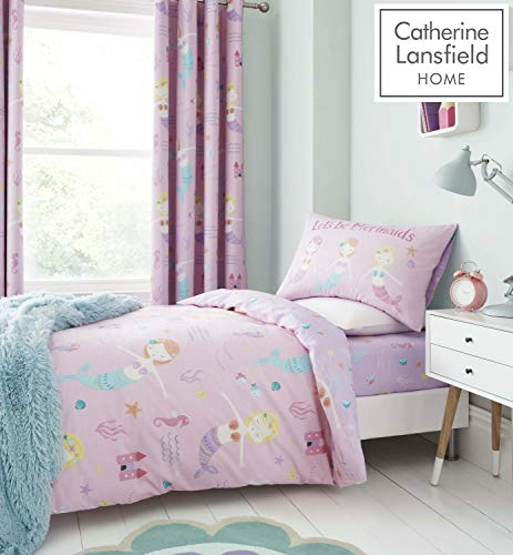 Catherine Lansfield Lets Be Mermaids Easy Care Single Duvet Set Pink