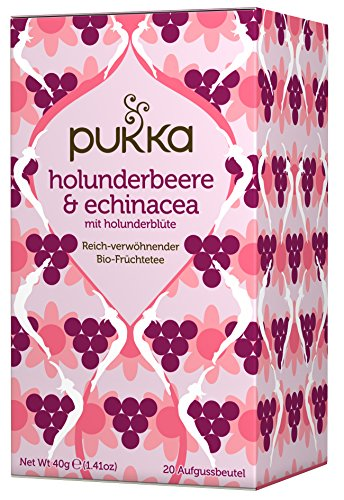 Holunderbeere & Echinacea PUKKA Tee BIO 4 Packungen à 20 Teebeutel