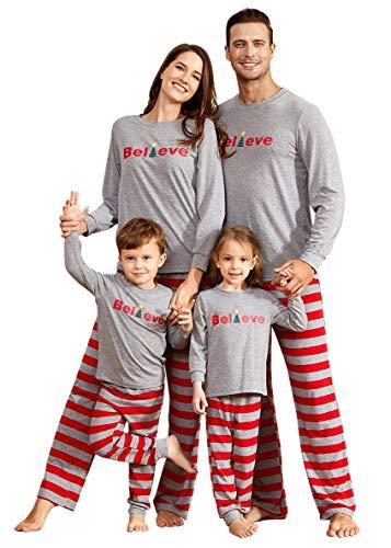 Yaffi Familie Bijpassende Pyjama Set Kerst Outfits Geloof Top met Strepen Broek Twee Stukken Lounge Draag voor Moeder Papa Kids PJs Nachtkleding