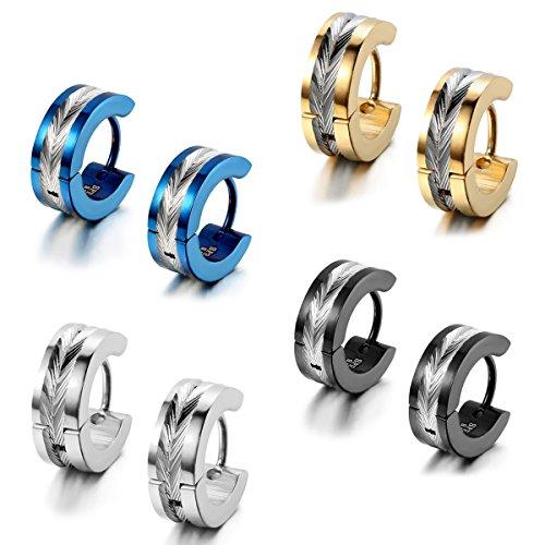 Flongo Pendientes de aros para hombre mujer, Pendientes de acero inoxidable azules plateados, Aretes pequeños originales 4 pares, Regalo de Navidad