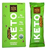 The Good Lovin' Keto Bar - Certified Organic - Low Carb, Low Sugar, High Healthy Fats with Plant Based Proteins - Delicious Snack - 4 Count (Crunchy Coconut Almond)