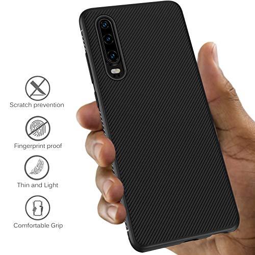 iBetter für Huawei P30 Hülle, Ultra Thin Tasche Cover Silikon Handyhülle Stoßfest Case Schutzhülle Shock Absorption Backcover Hüllen passt für Huawei P30 Smartphone (Schwarz) - 3