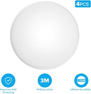 Door Stopper Wall Protector-Door Knob Wall Shield-White Round Soft Rubber Wall Protecto Strong with Self Adhesive 3M Sticker,Silicone Doorknob Wall Protector Shield (4 Pack)