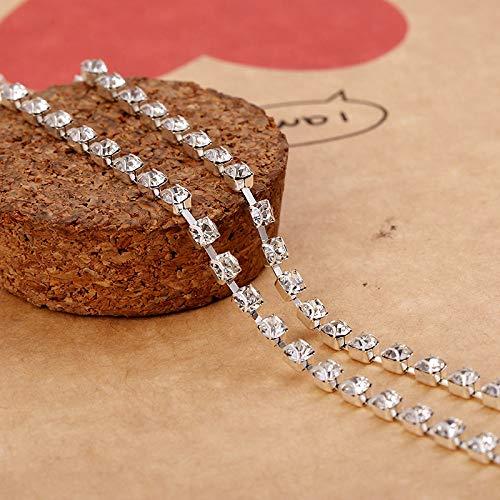 AUBERSIT Cadena de Diamantes de imitación de Cristal con Garras en Forma de Oreja de 10 Yardas/Rollo, Accesorios de Ropa DIY, SS6