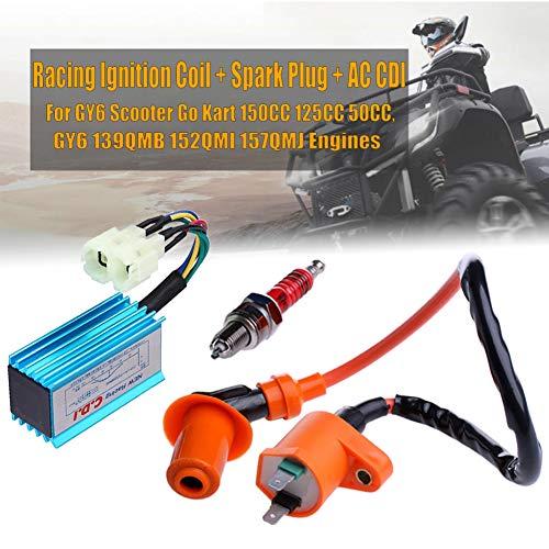 FUPOJW Gy6 Zündspule für Hochleistungsrennen 50Ccm 150Ccm 125Ccm ATV Motorroller Go Kart mit 6 Pin Cdi Und Elektroden Zündkerze