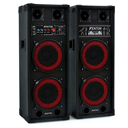 Altavoces Fenton SPB-28 - activo-pasivo, 800W, 2x20cm Woofer (2x altavoz bassreflex con doble subwoofer, entrada USB SD reproductor MP3, 2 entradas micrófono, carcasa resistente)