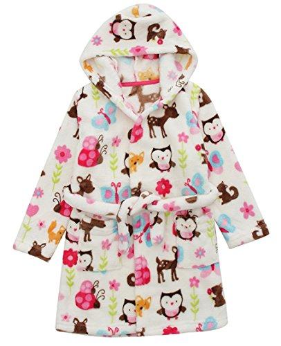 DELEY Unisex Kinder Mädchen Jungen Kapuzen-Bademantel Morgenmantel Weiches Coral-Fleece Nachtwäsche Warm Tier Pyjamas Mehrfarbig Größe 104/110