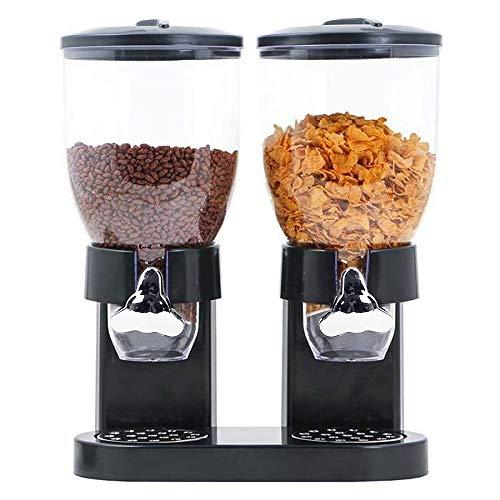 Flyelf 2X 3.5 Litern Müslispender Cornflakes Spender für Müsli, Cornflakes, Cerealien und Süßigkeiten (Schwarz)