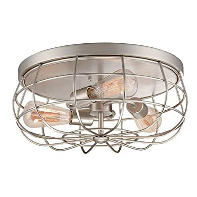 251 First River Station Satin Nickel Three-Light Flush Mount