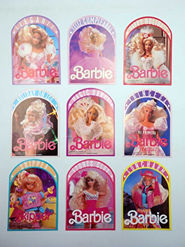 PEGATINA BARBIE. ADHESIVOS Lote De 9 Diferentes. Mattel. Lote De 9 Diferentes