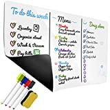 "Magnetic Dry Erase White Board – Whiteboard Sheet for Kitchen Fridge – Stain Resistant Technology – 17"" x 11"" inch – Includes 4 Colorful Magnetic Dry Erase Markers & Erasers"