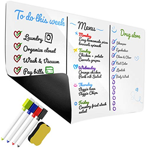 """Magnetic Dry Erase White Board – Whiteboard Sheet for Kitchen Fridge – Stain Resistant Technology – 17"""" x 11"""" inch – Includes 4 Colorful Magnetic Dry Erase Markers & Erasers"""