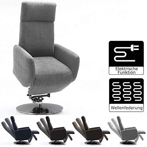 Cavadore TV-Sessel Cobra mit 2 E-Motoren und Aufstehhilfe / Elektrisch verstellbarer Fernsehsessel mit Fernbedienung / Relaxfunktion, Liegefunktion / bis 130 kg / S: 71 x 108 x 82 / Hellgrau