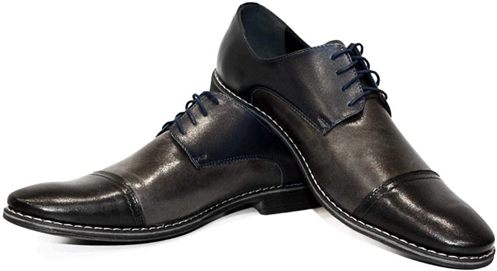 Modello Barillo - Handmade Italian Mens Color Navy Blue Oxfords Dress Shoes - Cowhide Patent Leather - Lace-Up