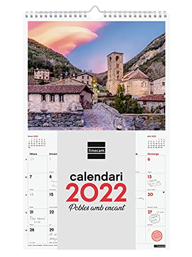 Finocam - Calendario 2022 250x400 mm Imágenes de Pared Espiral para Escribir Pueblos con encanto Catalán