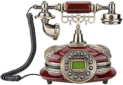 WYBW Taburetes de bar cafetería, estilo europeo, antiguo, antiguo, teléfono fijo, retro, con cable, tecla de presión, teléfono, madera maciza, decoración de oficina en casa