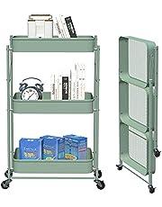 CM67 3-poziomowy składany wózek na kółkach, metalowy, kuchenny wózek z 2 hamulcami, metalowy wózek do serwowania, wózek do przechowywania, do łazienki, kuchni, pokoju dziecięcego, pralni, biura