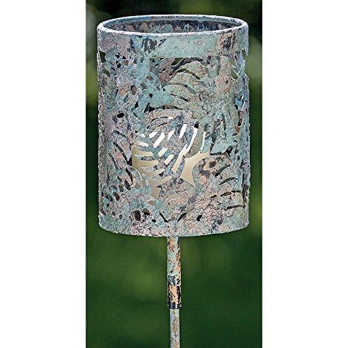 Deko-Kompanie 037743 Gartenstab Windlicht m. Vintage Blätter Metall Gartenfackel grün 136cm