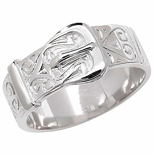Men's Buckle Ring Solid Sterling Silver Patterned Gents Band (P)