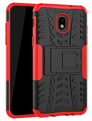 Yiakeng Galaxy J7 Refine Case,J7 V 2018,Galaxy J7 Top,J7 Crown,J7 Aero,J7 Aura,J7 Eon,J7 Star Case, Shockproof Protective with Kickstand Phone Cases for Samsung J737V,J737T (Red)