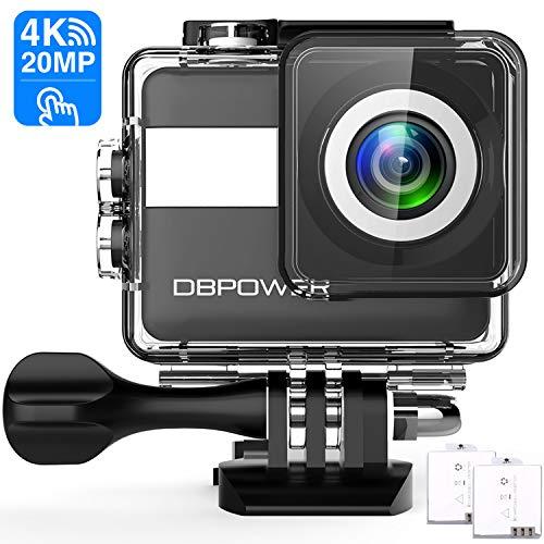 DBPOWER N6 Action Cam HD 4K 20MP WiFi Con Microfono Esterno Touch Screen Fotocamera Sott'acqua 30M con EIS Stabilizzazione Videocamera Impermeabile 170° Grandangolare Time Lapse/2 Batterie 1200mAh