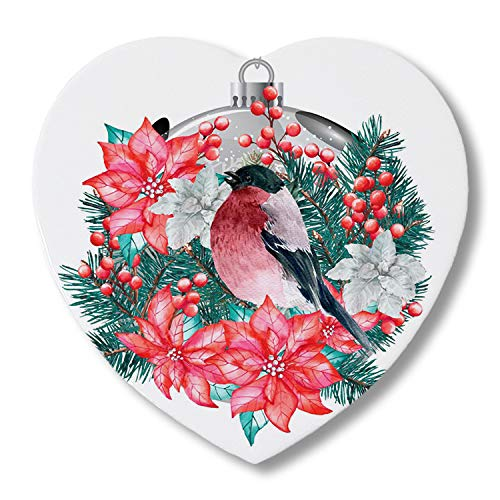 Absorbing Ceramic Drink Coasters With Cork Base Merry Christmas Robin Birds and Wreath Lamp Heart-Shaped Tabletop Protection for Apartment Kitchen Bar Decor, Set of 6