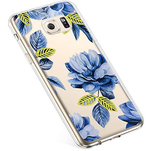 Uposao Kompatibel mit Samsung Galaxy S6 Hülle Silikon Schutzhülle Bunt Retro Muster Durchsichtig Case Klar Transparent TPU Tasche Handyhülle Anti-Kratzer Stoßfest,Blau Rose Blume