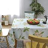 Epinki Mantel Flores y Hojas Modernas Sencillas Verde Cian Mantel Poliéster Ideal para Mesa Buffet, Fiestas Tamaño 140x140CM
