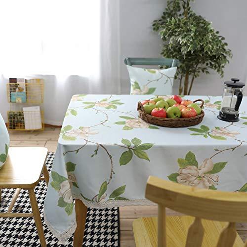 Epinki Mantel Flores y Hojas Modernas Sencillas Verde Cian Mantel Poliéster para Fiesta Boda Mesa Decoración Vacaciones Tamaño 140x250CM