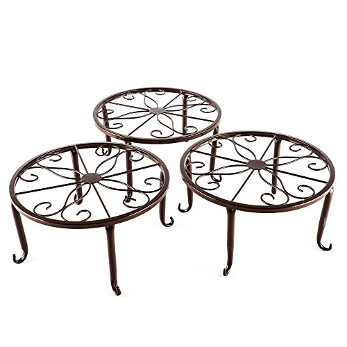 Metal 3 in 1 Potted Plant Stand Floor Flower Pot Rack/Iron Rack (Bronze)