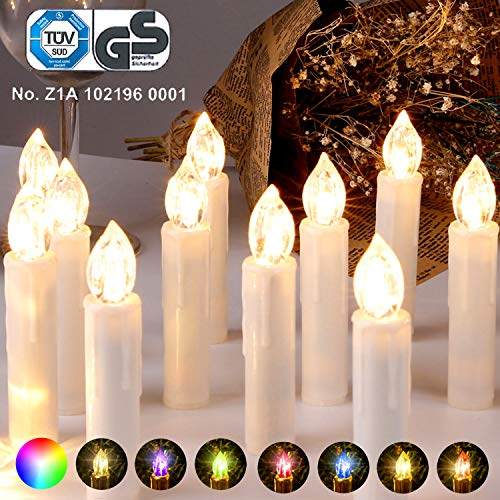 CCLIFE GS/CE LED Weihnachtskerzen Kabellos RGB Kerzen Bunt Weihnachtsbaumkerzen Christbaumkerzen mit Fernbedienung Timer Kerzenlichter, Farbe:Beige, Größe:30er