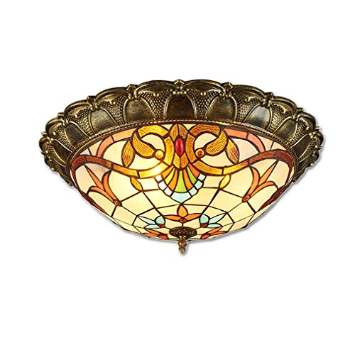 Led-plafondlamp, klassieke Tiffany-plafondlamp, elegante retro-plafondlamp in slaapkamer-woonkamer-café