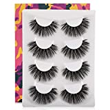 Ruairie False Eyelashes, 3D Faux Mink Lashes Volume Reusable Fake Eyelashes Strip 4 Pairs