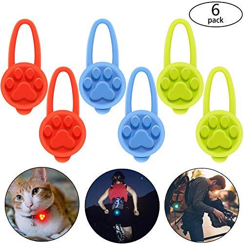 6 Stücke Silikon Hunde Leuchthalsband Halsband LED Licht Hunde und Katzen Strahler Blinklicht für 3 Blinkmodis auch für Kinder Läufer, Jogger, Walker, Fahrradfahrer, Outdoor, inklusiv Knopf Batterien