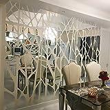 Vinilos De Pared Decorativos Salón Diy Creativo Patrón Geométrico Superficie Del Espejo Para El Comedor Sala De Estar Decoración De La Pared 3D Arte De La Etiqueta 50X185 Cm