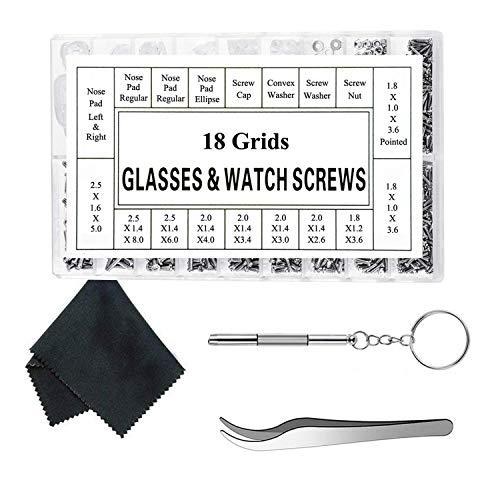 Herramienta de reparación de relojes, kit de reparación de anteojos Kit de reparación de anteojos de sol Tornillos para anteojos con 12 pares de almohadillas para la nariz Destornillador Pinzas Paño