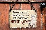 schilderkreis24 Targa in metallo con scritta divertente 'Ander Theraputen', stile vintage, idea regalo per compleanno, Natale per tutti i fan dei gatti, 18 x 12 cm