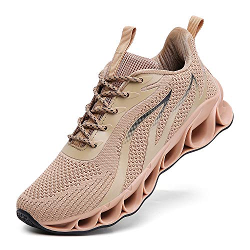 TSIODFO Athletic Sneakers for Men mesh Breathable Comfort Fashion Sport Running Shoes Man Runner Walking Jogging Shoes Casual Tennis Trainers Brown Size 10