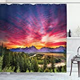Ambesonne Landscape Shower Curtain, Colorful Skyline with Clouds in The Forest Lake River Mountain Landscape Sunburst, Cloth Fabric Bathroom Decor Set with Hooks, 70' Long, Hot Pink