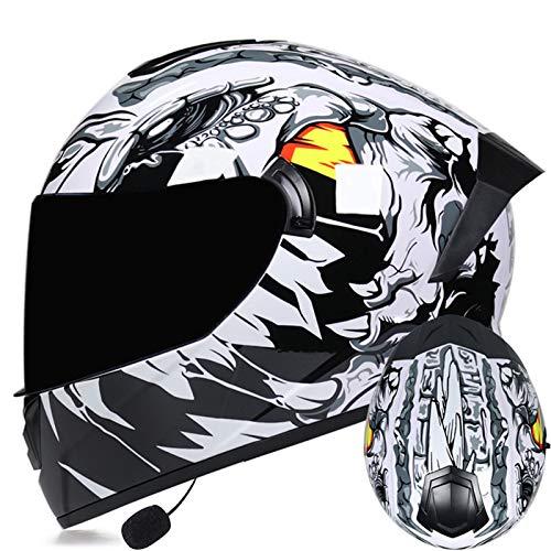 ZLYJ Casco De Motocicleta con Casco Abatible Bluetooth Certificado ECE con Doble Visera Cascos De Protección con Micrófono Incorporado B,XL(61-62cm)