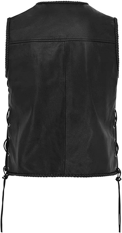 EverNight Men's Motorbike Motorcycle Waistcoat,Leather Button Side Laced Fish Hook Pocket Waistcoat,Fashion V-Neck Biker Vest