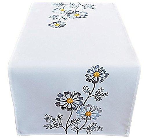Raebel OHG Apolda Nappe 40 x 85 cm blanc laine fleurs brodées gris chemin de table chemin de table printemps été (40 x 85 cm)