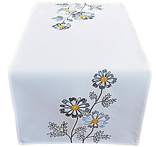 Raebel OHG Apolda tafelkleed wolwit bloemen grijs geborduurd tafelloper loper lente zomer
