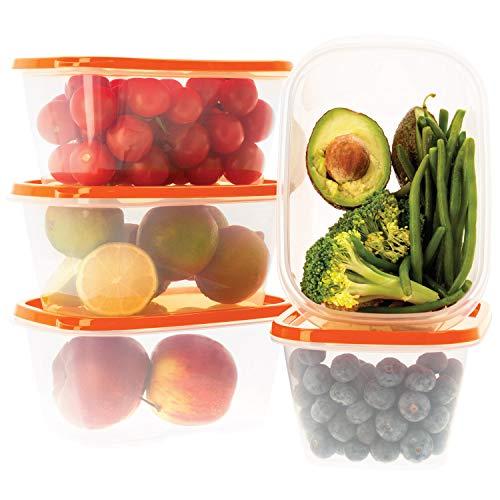 Oursson Recipientes Plastico para Alimentos Almacenaje Cocina con Tapas Naranja   Set de 5 Piezas x 1L   Sin BPA   Tapers para Comida Hermetico   Lunch Box   Fiambrera   Organizador Frigorifico  