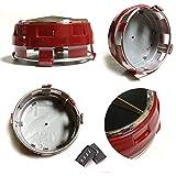 UG Tapacubos de repuesto 4 x 75 mm, color rojo y negro, elevados, compatibles con tachuelas de llantas de aleación – Clase A, B, C, E, CLK, GL, M, ML y SLK